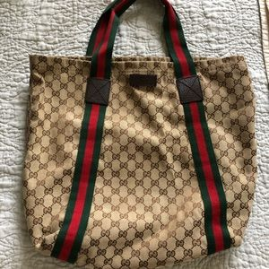 Gucci Tote with Red & Green Straps